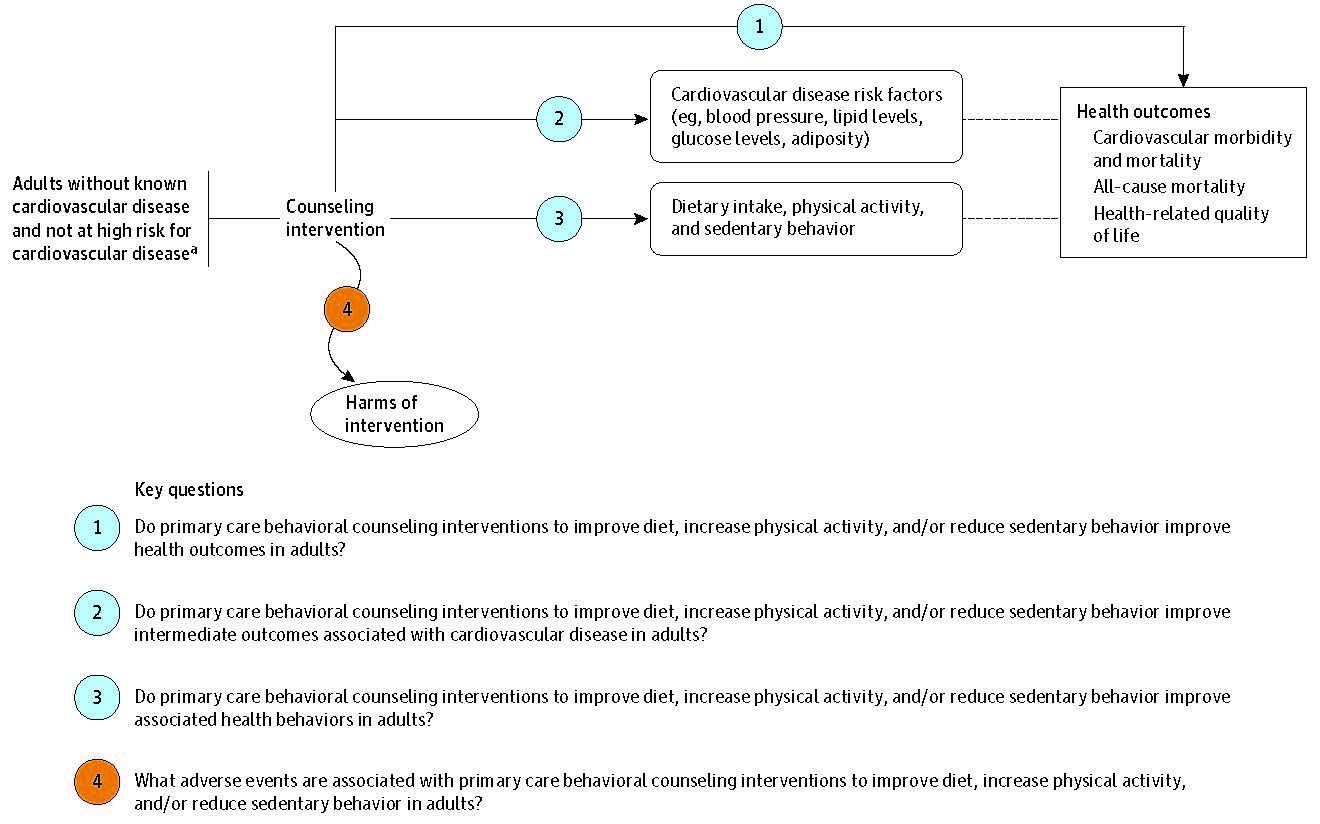 Figure 1 is the analytic framework that depicts the four Key Questions to be addressed in the systematic review. The figure illustrates how behavioral counseling to improve diet, increase physical activity, and reduce sedentary behavior may result in improved health outcomes including cardiovascular morbidity and mortality, all-cause mortality, and health-related quality of life (KQ1). Additionally, the figure illustrates how counseling to promote a healthful diet, increased physical activity, and reduced sedentary time may have an impact on intermediate (KQ2) and behavioral outcomes (KQ3). Further, the figure depicts whether counseling to promote a healthful diet, increased physical activity, and reduced sedentary time are associated with any adverse events (KQ4).