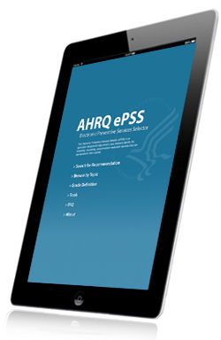 Image of iPAD with AHRQ ePSS on it.